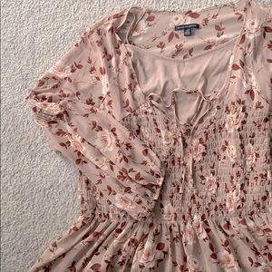 AEO floral pink rose loose long sleeve blouse